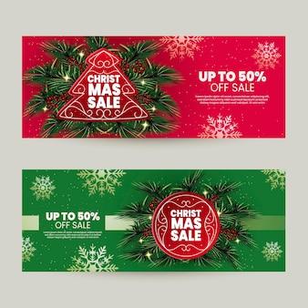 Realistische weihnachtsverkaufsfahnenschablone