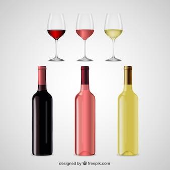 Realistische weingläser und flaschen