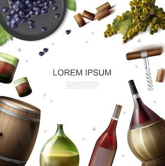 Realistische weinproduktionsindustrieschablone mit hölzernen fassflaschen und gläsern der getränkekorkenzieher-weintraubenillustration