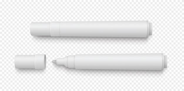 Realistische weiße 3d-markierungsstifte