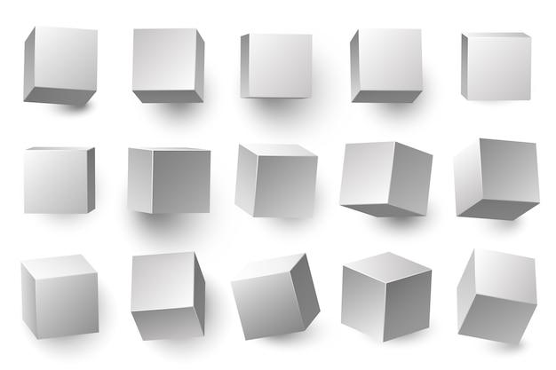 Realistische weiße 3d-würfel. minimale würfelform mit unterschiedlicher perspektive, geometrische kastenformen