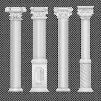 Realistische weiße antike römische spalte lokalisiert auf transparentem