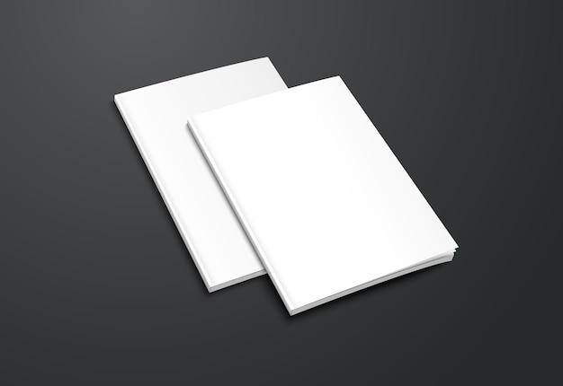 Realistische weiße broschüre auf schwarzem hintergrund.