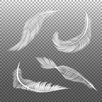 Realistische weiße federn. fliegende pelzige schwerelose weiße schwanobjekte lokalisiert auf dunklem hintergrund