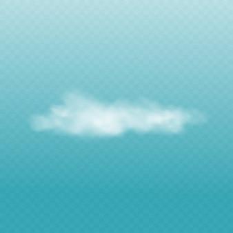 Realistische weiße flauschige wolke lokalisiert auf transparentem blauem himmelhintergrund
