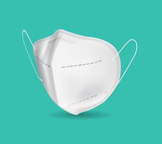 Realistische weiße gesichtsmaske mit isoliertem hintergrund