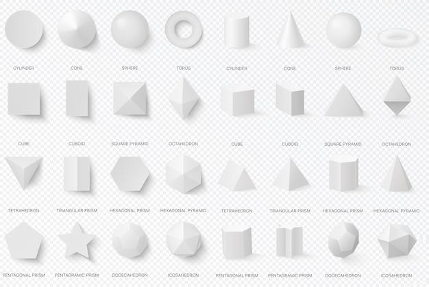 Realistische weiße grundlegende 3d-formen in der draufsicht und in der vorderansicht lokalisiert auf dem alpha-transperanten hintergrund.