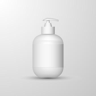 Realistische weiße händedesinfektionsflasche