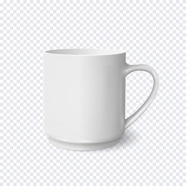 Realistische weiße kaffeetasse lokalisiert auf transparentem