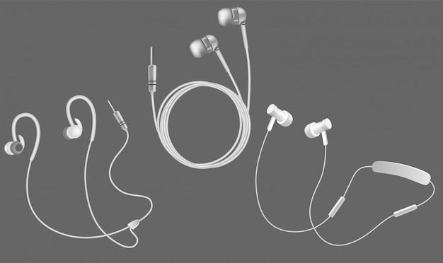 Realistische weiße kopfhörer-icon-set