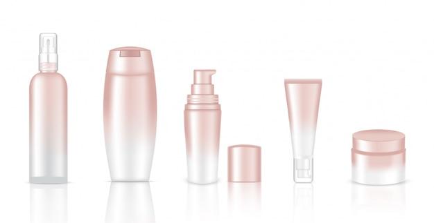 Realistische weiße kosmetische flaschen