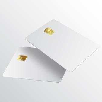 Realistische weiße kreditkarte.