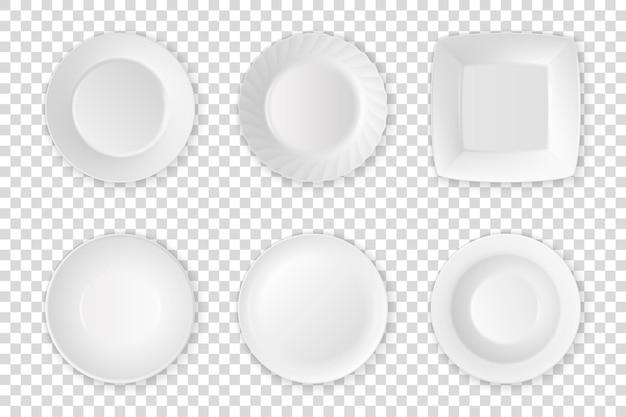 Realistische weiße lebensmittel leere teller icon set nahaufnahme isoliert