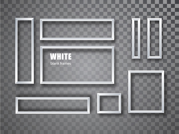 Realistische weiße leere bilderrahmensammlung. leerer fotorahmen