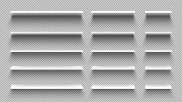 Realistische weiße leere regale mit schatten lokalisiert auf transparenter wand
