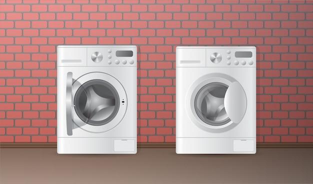 Realistische weiße leere waschmaschine mit zwei vektoren