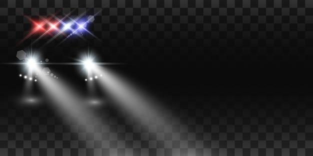 Realistische weiße leuchtende runde strahlen von autoscheinwerfern, auf transparentem hintergrund. polizeiauto. licht von scheinwerfern. polizeistreife.