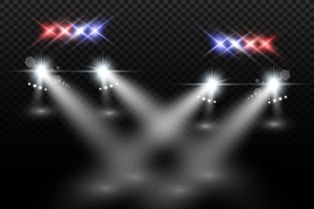 Realistische weiße leuchtende runde strahlen von autoscheinwerfern, isoliert. polizeiauto. licht von scheinwerfern. polizeistreife.