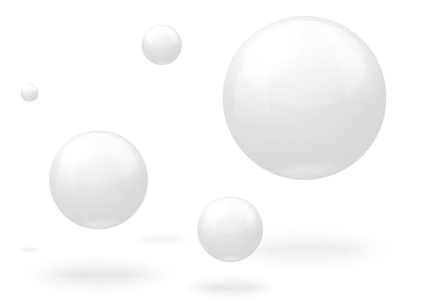 Realistische weiße marmorkugeln, die in der luft fliegen
