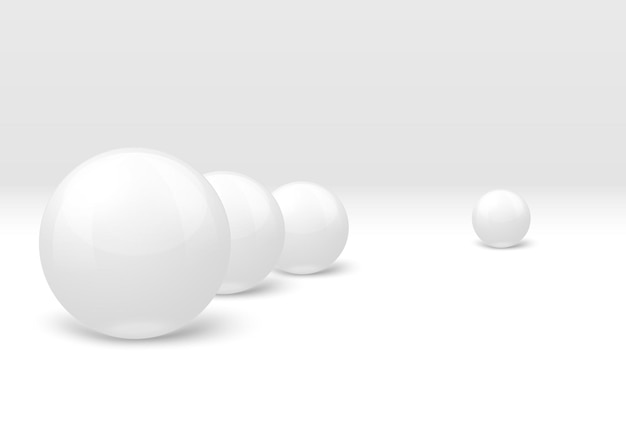 Realistische weiße marmorkugeln in komposition gesetzt