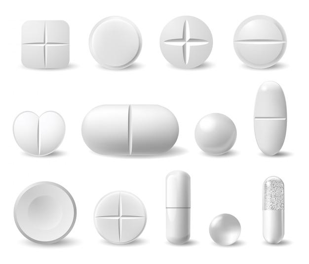 Realistische weiße medizinpillen. pharmazeutische schmerzmittel, antibiotika, vitaminkapsel. chemische gesundheitsbehandlungsikonen eingestellt. illustration pharmazeutisches, medizinisches weißes produkt