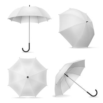 Realistische weiße offene regenschirme