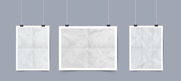 Realistische weiße plakatschablone, die hängt
