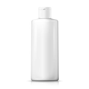 Realistische weiße plastikshampooflasche 3d. produktpaket-branding.
