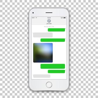 Realistische weiße telefonschablone mit chatkurier auf bildschirm