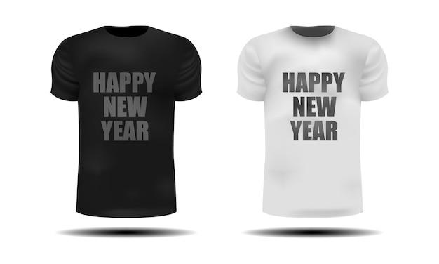 Realistische weiße und graue t-shirts mit der aufschrift-frohes neues jahr auf einem isolierten weißen hintergrund