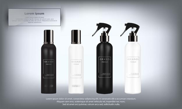 Realistische weiße und schwarze kosmetikflaschen eingestellt