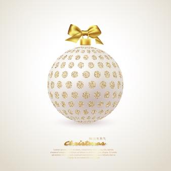 Realistische weiße weihnachtskugel.