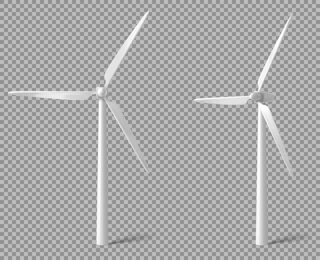 Realistische weiße windkraftanlage