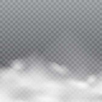 Realistische weiße wolken oder nebel auf transparentem hintergrund