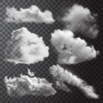 Realistische weiße wolken symbol gesetzt mit verschiedenen formen und größen