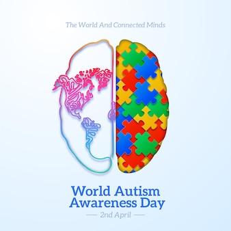 Realistische welt autismus bewusstsein tag illustration mit puzzleteilen