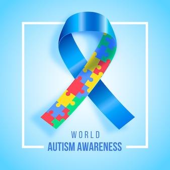 Realistische welt autismus bewusstsein tag illustration