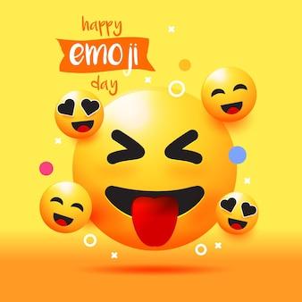 Realistische welt-emoji-tagesillustration