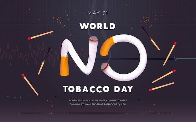 Realistische welt keine tabak tagillustration