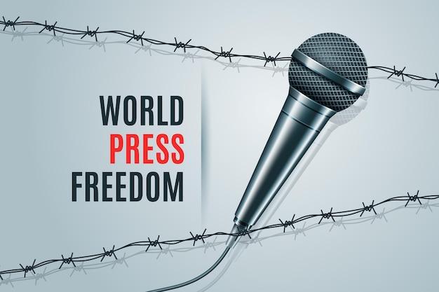 Realistische welt pressefreiheit tag illustration