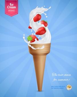 Realistische werbekomposition mit eiscreme-kornett und erdbeeren