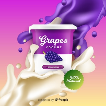Realistische werbung für traubenjoghurt