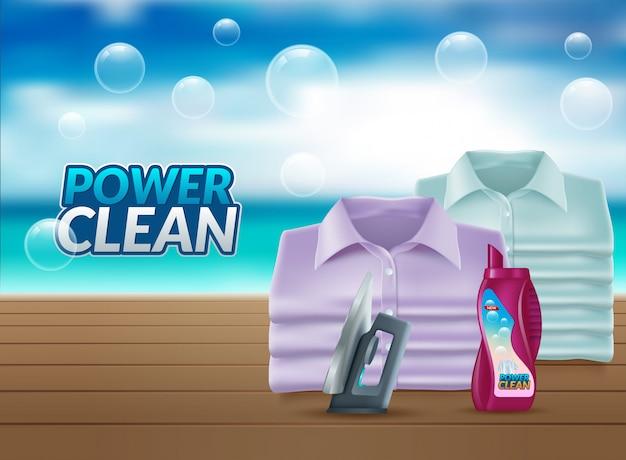 Realistische werbung für waschpulver
