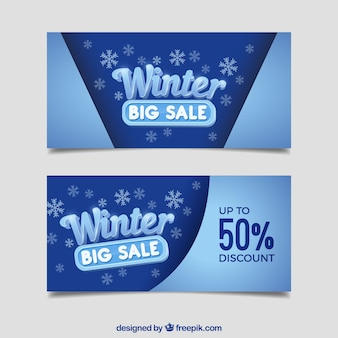 Realistische winter sale banner