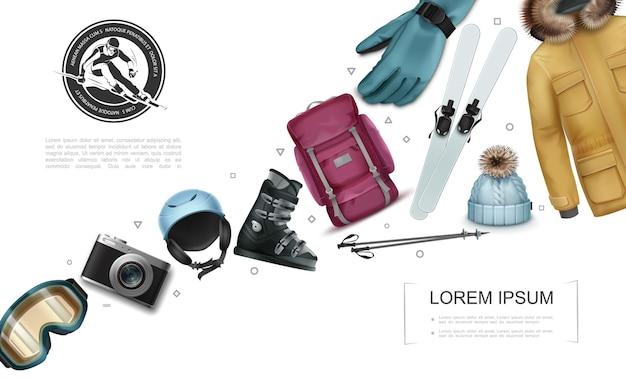 Realistische winteraktivität zusammensetzung mit rucksack skistöcke jacke handschuh hut kamera snowboard schuh helm