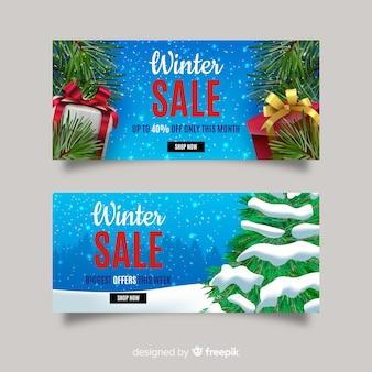 Realistische winterschlussverkauf-banner
