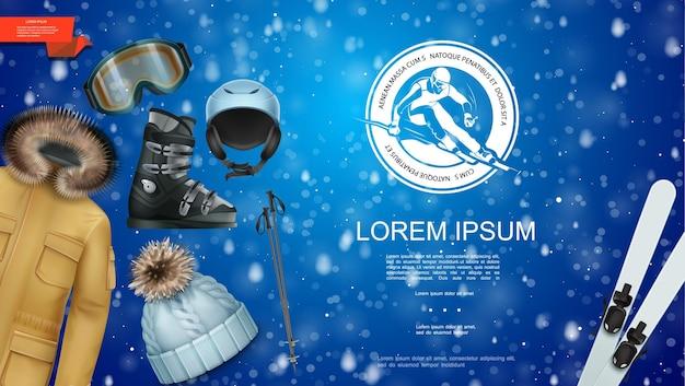 Realistische wintersportschablone mit jackenhut-ski und stöcken snowboardbrillenstiefelhelm auf blauer schneebedeckter illustration