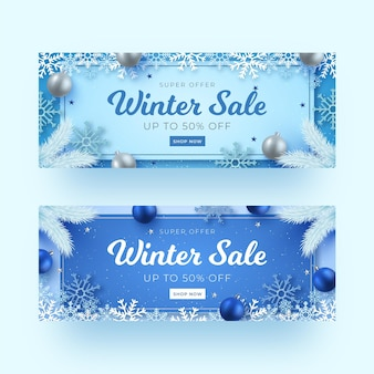 Realistische winterverkaufsbanner