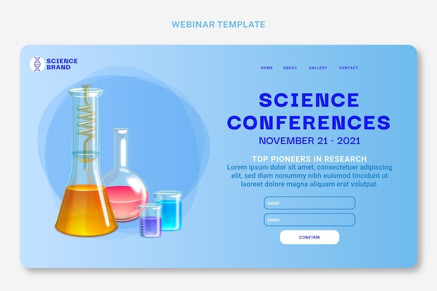 Realistische wissenschaftliche webinar-vorlage