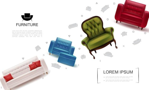 Realistische wohnmöbelobjektschablone mit sesseln weiches tabourets-ledersofa mit kissen
